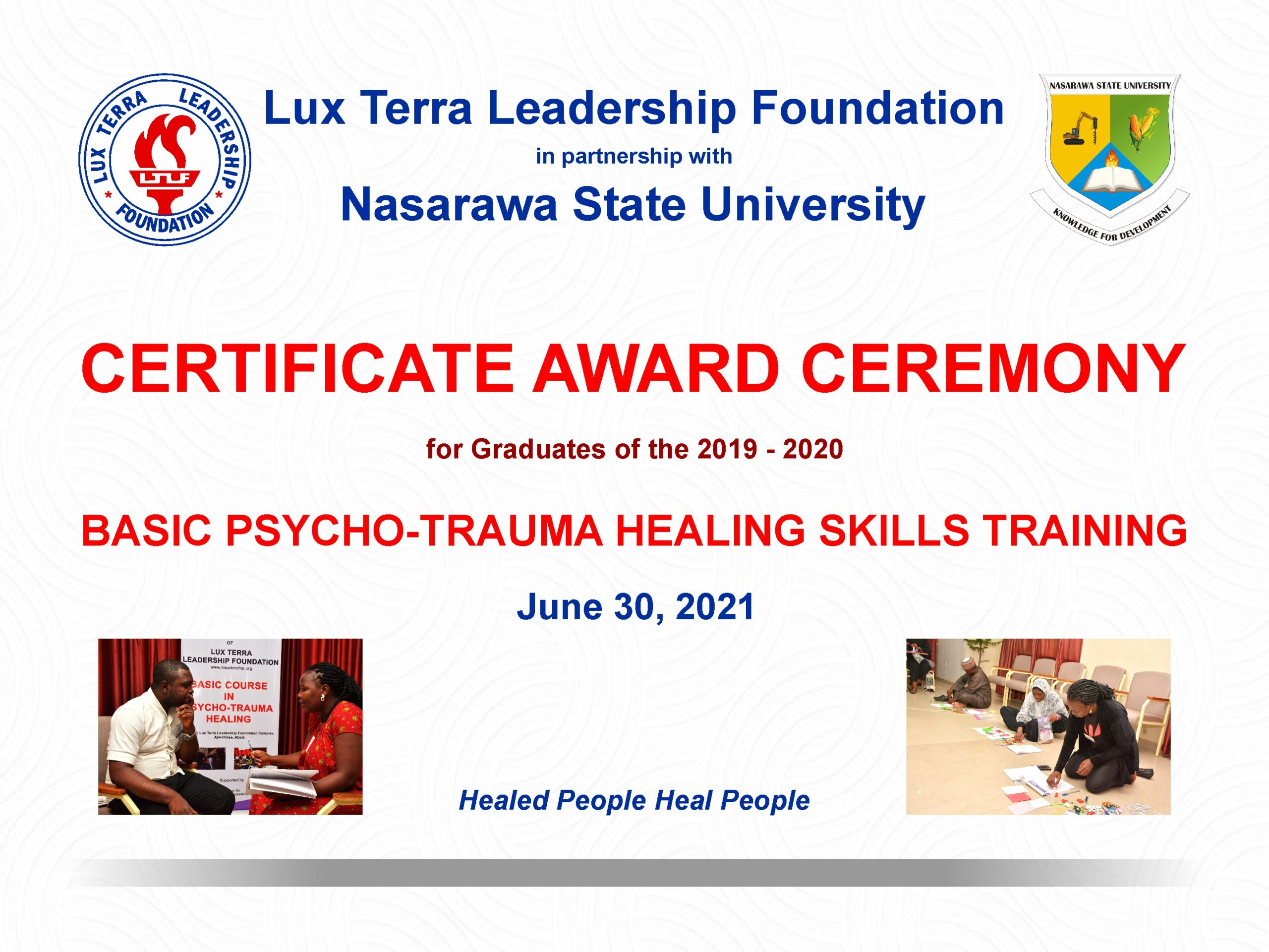 LUX TERRA HOLDS 2ND CERTIFICATE AWARD CEREMONY FOR GRADUATES OF ITS BASIC PSYCHO-TRAUMA COURSE