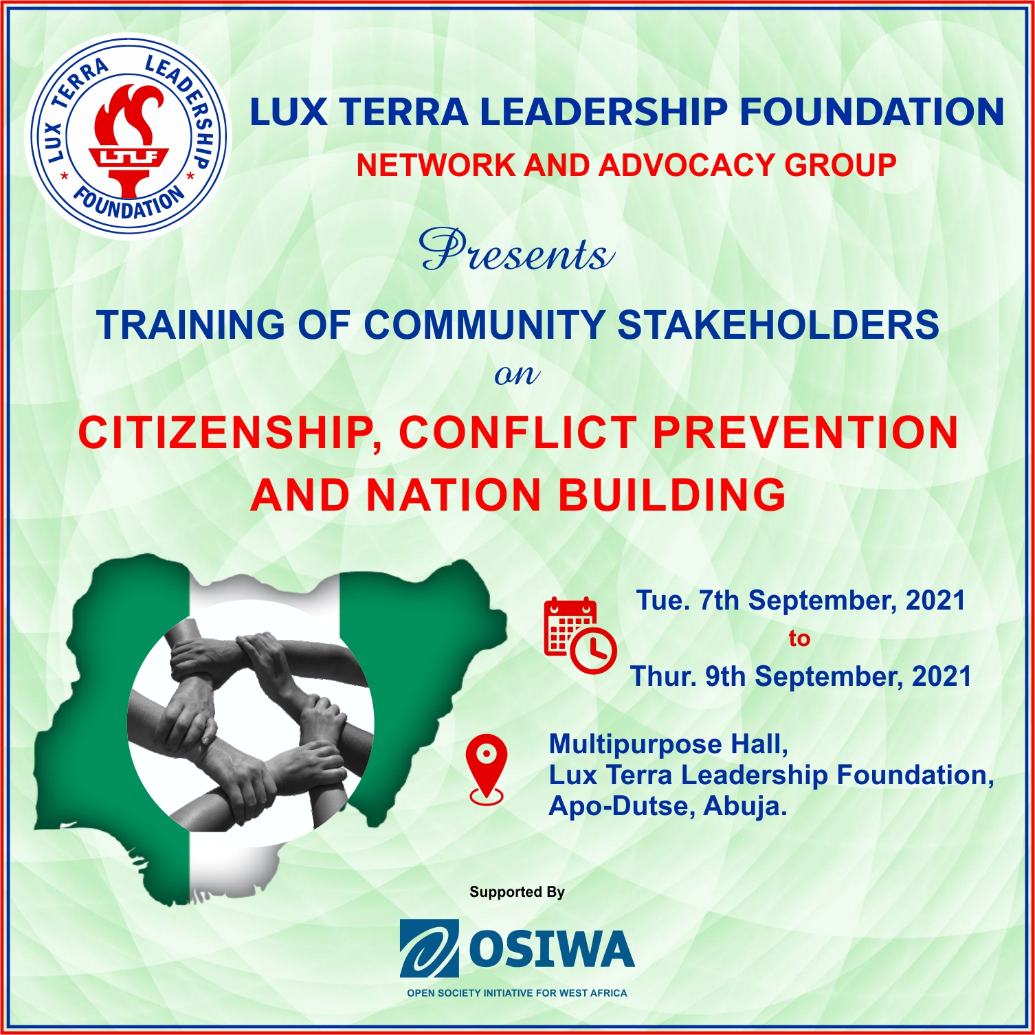 LUX TERRA NETWORK AND ADVOCACY GROUP OF LUX TERRA LEADERSHIP FOUNDATION HOLDS SECOND COMMUNITY STAKEHOLDERS WORKSHOP IN ABUJA